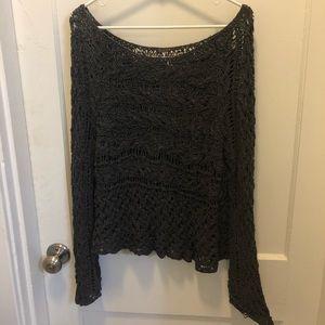 Free People crochet oversized tunic sweater
